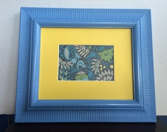 Blue 8x10 Upcycled painted Wall photo frame with mat