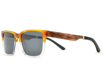 Wooden Sunglasses, Clear Frame Wood Sunglasses, Real Wood Sunglasses - MDW-CLEAR