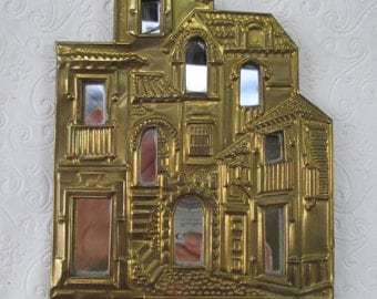 Miniature Brass Mirrored Cityscape ready to hang 4 x 6