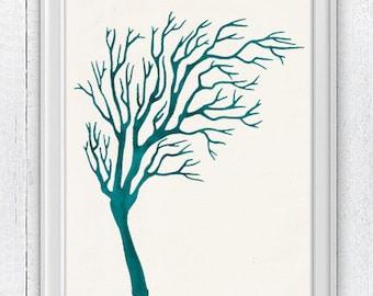 Antique sealife Illustration - Navy Blue Sea Coral Illustration - sea life print - Marine sea life A4 print SPC043