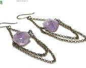 Purple Rough Amethyst Nugget Chain Earrings