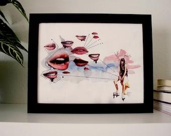 Black Frame for Girl Time Original Art Prints