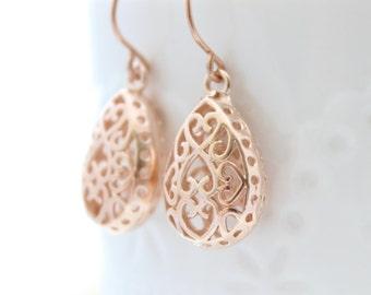 Rose Gold Earrings | Gold filigree drop earrings | Drop earrings | Gifts for her