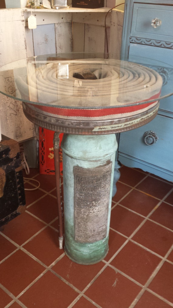 Vintage fire extinguisher and hose up cycled table local for Concreteworks fire table