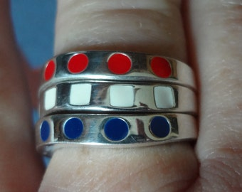 3 Rings Silver Ring 925 Sterling Stack Stacking Stacker Size 9 Band Polka Dots Womens Army Navy Air Force Marine Wife SET Red White Blue