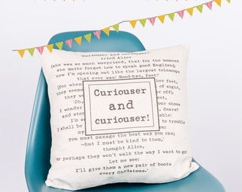 Curiouser and Curiouser Alice in Wonderland Custom Made Pillow Cushion Cover Quality Linen Cotton