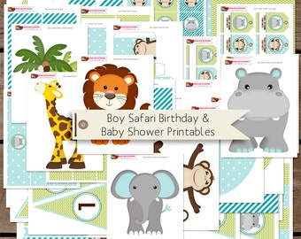 SALE Boy Safari Birthday and Baby Shower Printable Party Decorations INSTANT DOWNLOAD