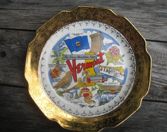Souvenir plate from Vermont.Plaque round 22 K Gold