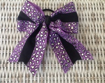 Purple Silver Cheetah Ponytail Holder  - Girls Cheerleading Bow