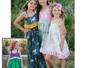 Madison Dress- knee, tea and maxi length optional high low hem. Ariel. Little Mermaid PDF Pattern instant download size 6mnth-14years