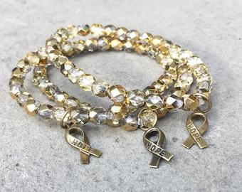 Pediatric Cancer bracelet, HOPE ribbon, childhood cancer awareness, gold bracelet, cancer support, September, CureSearch, Fundraising