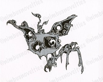 Detailed Ink Drawing of a Cute Cartoon Bat with a Skull in One Eye! Flowing Organic Elements, Geometric Circles, and More! Enjoy!