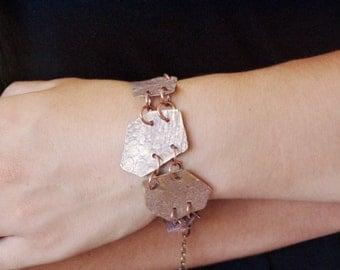 Boho geometric bracelet, trapezoid, brass bracelet, oxidised and hammered brass cuff, unique boho bracelet, boho jewelry, geometric jewelry