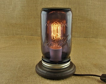 Wide Mouth Mason Jar and Edison Industrial Bulb Lamp With Purple Heritage Mason Jar