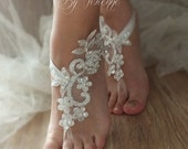 ivory silver frame barefoot sandals, embroidered sandals, ivory Barefoot , wedding anklet, ivory lace beach shoes FREE SHIP