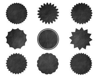 60% off Clip Art Sale, Black Chalk Labels, Digital Design, Labels Clipart, Black Clipart, Scrapbooking Supplies, Black Labels Set #032