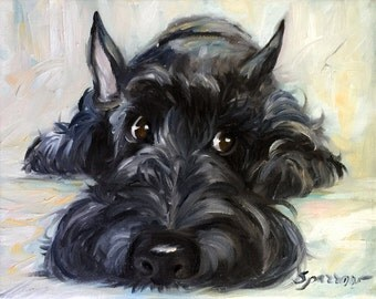 "PRINT Scottish Terrier Scottie Dog ""Mischief"" brindle black scotty puppy/ Mary Sparrow unstretched and rolled"