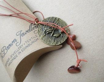Pendant Lariat, Rose Pendant lariat, Gold Nugget Necklace, Copper Pendant Lariat, Edinburgh Jewellery Designer, Scottish Jewellery, U.K.