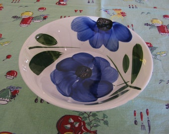 Vintage Small Serving Bowl, Blue Floral, from Japan