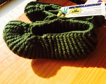 Forrest green child's slippers