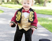 RingMaster Costume, Circus Ring Leader, Baby Photo Props, Toddler Tuxedo, Pant, Vest, BowTie, First Birthday Party, Boy Fantasy Lion Tamer,
