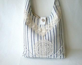 Bag, Tote bag, Shoulderbag, ivory,  Boho,  stripes, blue