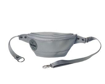 Gray Eco-Sueder Hip Bag with a Zip