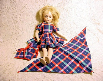 "Molly'es Doll Outfitters 3 Piece Plaid Doll Dress Fits 13"" Wendy Ann or 12"" Shirley Temple Doll Circa 1930s Vintage Doll Clothes"