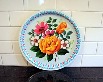 Serving up Some Spring...  Vintage Metal Elite Serving Tray - Floral Design in Bright, Springtime Colors - Made in England