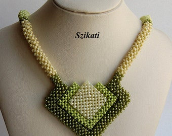 10% SALE Green Statement Seed Bead Necklace, Beadwoven High Fashion Jewelry, Women's Beaded Accessory, Right Angle Weave, Gift for Her, OOAK