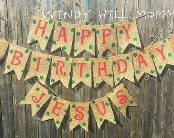 Happy Birthday Jesus Burlap Banner Christmas Decoration