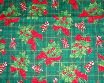 Green Christmas Evergreen/Candy Cane Cotton Fabric by the Yard