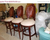 Big Sale Set of 3 Vintage Seashell Sea Shell Barstools Bar Stools Counter Carved Wood Italian Italy Hollywood Regency Palm Beach Chic Chairs
