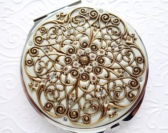 Vintage Wedding Compact Mirror-Golden Brass Compact Mirror