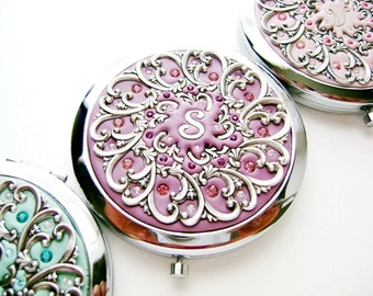 Free Gift Wrap-SIX Personalized Bridesmaids Gift Wedding Party- Compact Mirrors Custom, Initial Letter, with Swarovski Crystals