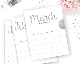 Printable 2016 Monthly Calendar - Printable Calendar - Silver Glitter Planner - Silver Glitter Printable - Instant Download - Print at home
