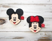 Minnie or Mickey Mouse Inspired Hair Clippie/Minnie or Mickey Inspired Hair Clip/Infant, Toddler, Girls Choice of Minnie or Mickey Hair Clip