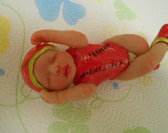Handmade Ooak Art Clay Watermelon Sleeping Baby.