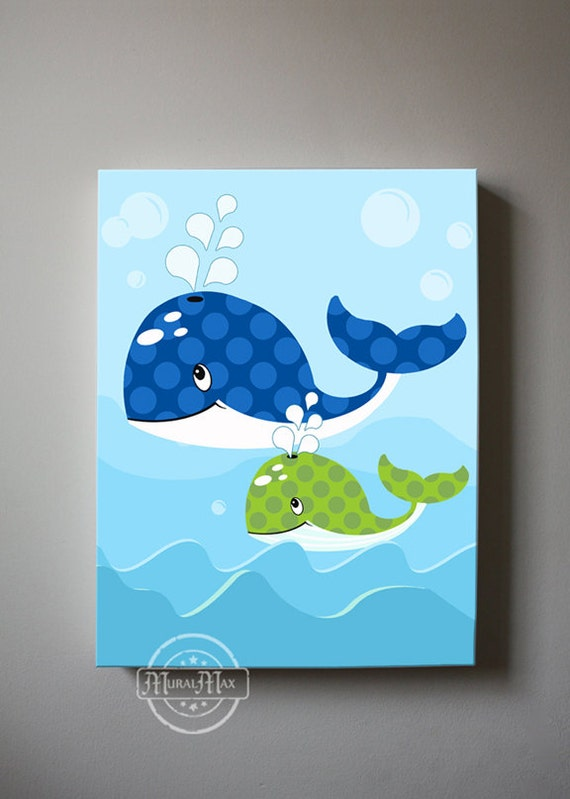 Whale Baby Boy Room Decor Canvas Wall Art Nautical Nursery Decor Blue