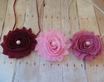 Set of three Shabbys chic headbands ..Photographo Props . .Girls  Headband, Newborn Headband, Baby Girl Flower Headband, Photography Prop