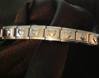 Vintage  Dolceoro Handmade Italian Puffy Heart Bracelet