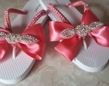 beach wedding flip flops/ coral pink/rhinestone Applique/ satin flip flops sandal bride bridemaid gift wedding sweetsixteen quinceanera