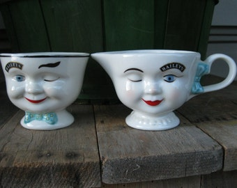 Bailey's Irish Cream Mugs-2 Bailey's Coffee Cups-Bailey's sugar and cream Mugs-Winking eye Mugs-Bailey's Tea Cups