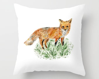 Fox Throw Pillow, woodland pillow, pillow with fox, nursery pillow, fox nursery, woodland nursery
