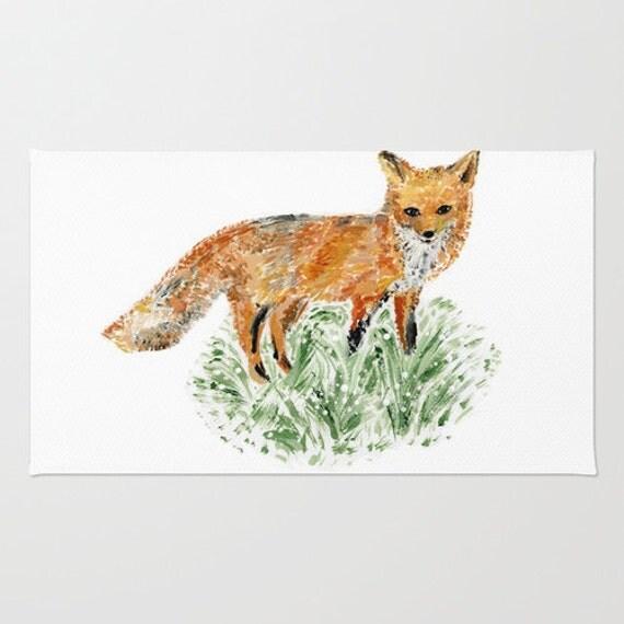 Fox Area Rug Woodland Rug Nursery Rug Modern Area Rug Minimal Rug Fox Nursery Fox Home Decor Fox Rug Nursery Area Rug Forest Rug