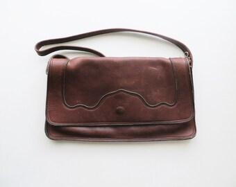 70s Soft Leather Shoulder Bag Satchel Crossbody Southwestern Brown Hide Purse
