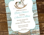 Rocking Horse Baby Shower Invitation, Rustic Invite, White Wash Wood, Monogram Invite, Burlap Baby Shower Invitation, Invite - Digital File