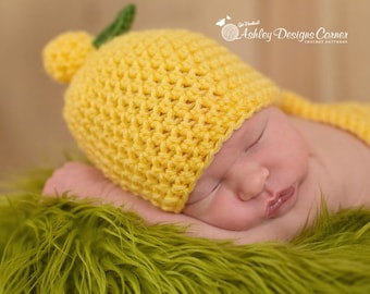 Crochet Pattern Lemon Beanie