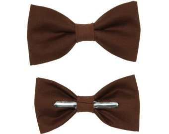 Chocolate Brown Clip On Cotton Bow Tie Bowtie ~ Choose Men's or Boys Sizes