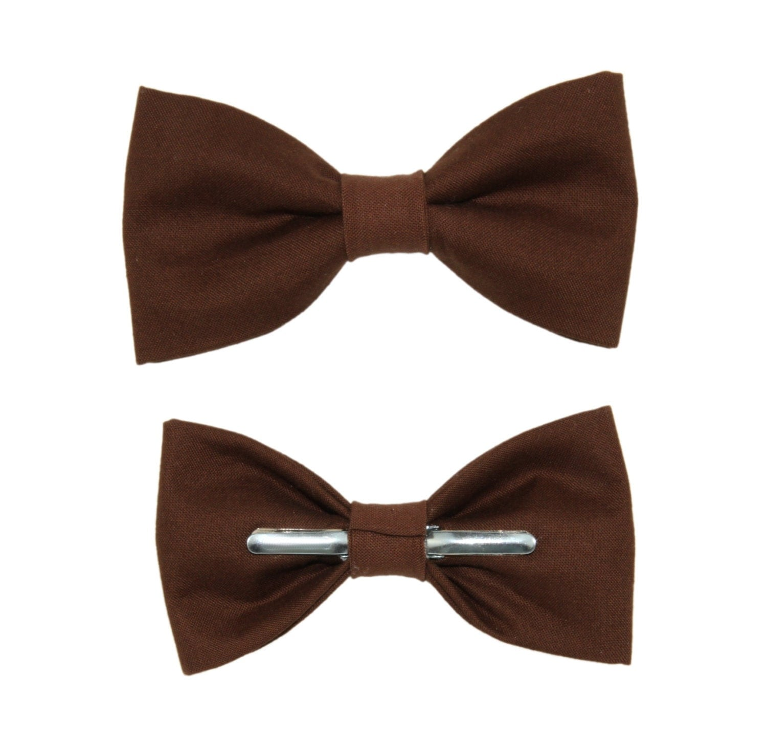 Chocolate Brown Clip On Cotton Bow Tie Bowtie Choose